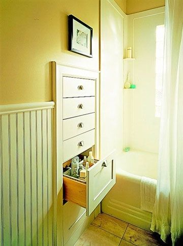 Built-In Drawers between wall studs. Imagine how much space you could save w/out dressers! Think about bathroom space. So smart!