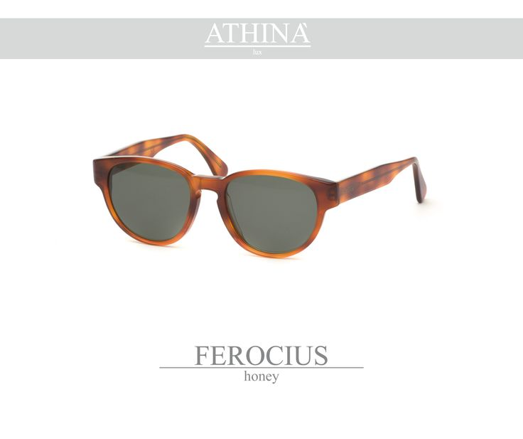 Mod. FER0303S01 Sunglasses with a rounded shape, totally made in classic havana cellulose acetate. Provided with standard grey-green lenses.