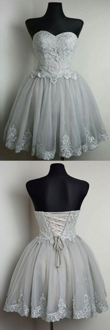 Sleeveless Prom Dresses, Silver Sleeveless Homecoming Dresses, Short Homecoming Dresses, Sleeveless Prom Dresses, Short Prom Dresses, New Strapless Sweetheart Neck Grey Homecoming Dresses Lace Appliqued Short Prom Dresses, Lace Prom Dresses, Prom Dresses Short, Silver Prom Dresses, Custom Prom Dresses, Short Lace dresses, Custom Made Prom Dresses, Grey Lace dresses, Lace Homecoming Dresses, Strapless Prom Dresses, Custom Made Dresses, Grey Prom Dresses, Prom Short Dresses, Homecoming D...