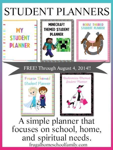 Free printable Frozen & Minecraft Homeschool Student Planners