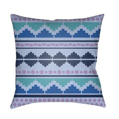Pink and Blue Aztec Outdoor Pillow
