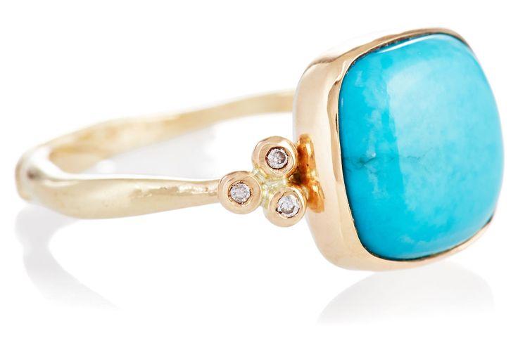 Organic Originals - 10K Sleeping Blue Turquoise Ring by Emily Amey