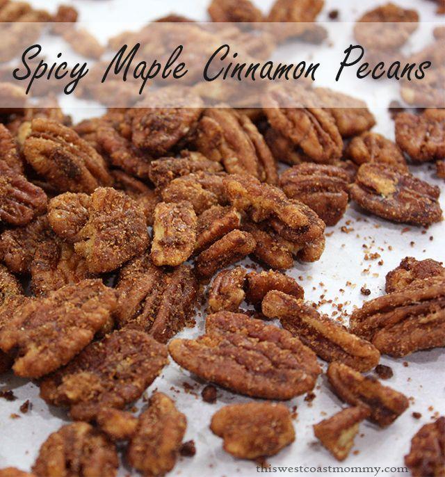 These delicious spicy maple cinnamon pecans are the perfect treat! #paleo #recipe #dessert