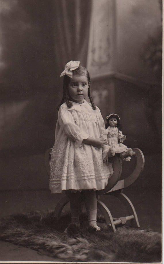 English doll, hair ringlets, antique doll, girl real photo, Edwardian doll, Social history, snapshot, vernacular, vintage doll  (rppc/ch490)