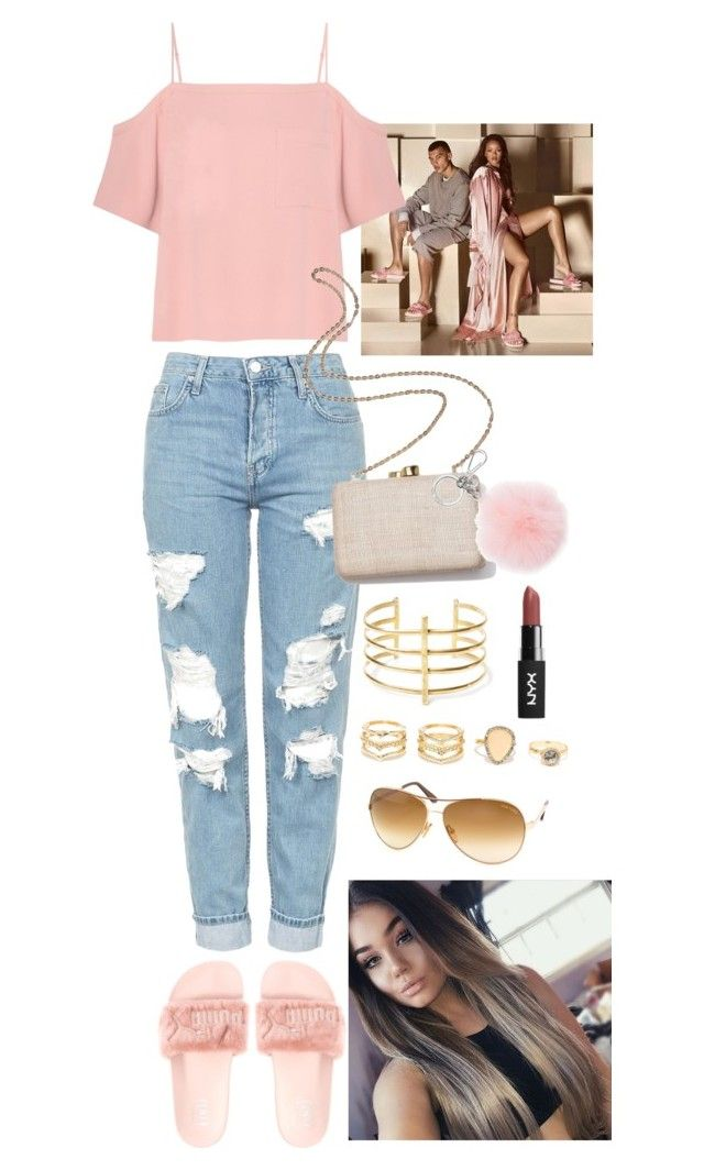 """Fenty Slides Outfit #1 Pink"" by janaalonzo ❤ liked on Polyvore featuring T By Alexander Wang, Topshop, Kayu, Michael Kors, Tom Ford, BauXo and LULUS"