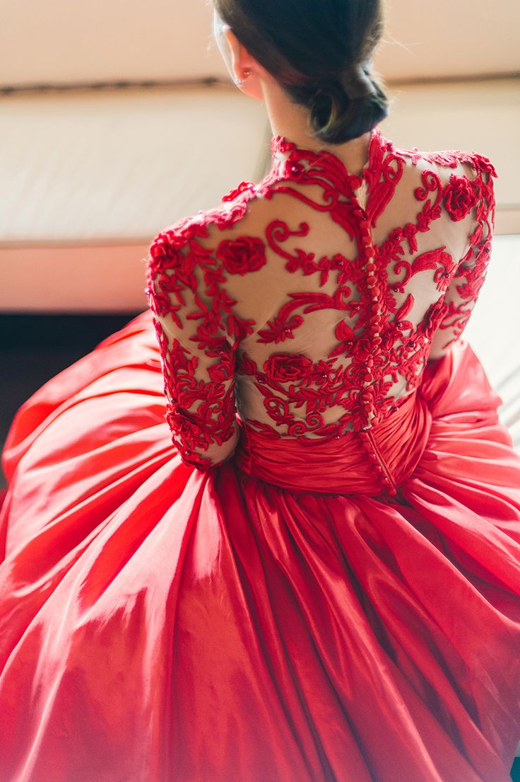 Bride in glamorous red embroidered wedding ball gown from That White Dress // Shaun and Vivian's Romantic Engagement Shoots in Penang and Ipoh
