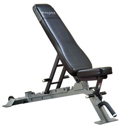 """Body Solid SFID325 Pro Club-Line Bench ~~~ # 1000 pound capacity tested # Thick, durable padding # Transport wheels for easy movement # Flat, incline (15, 30, 45, 60 and 80 degrees) and decline (-18 degrees) # Seat pad adjusts flat, 10, and 18 degrees # Back Pad tapers 9.5"""" -12"""" towards seat pad #WeightsBench #HomeGym #Fitness"""