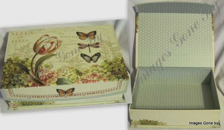 Victorian 'Seeds & Bulbs' Keepsake Box. Great for photos, cards and all of those special memories. Use it to decorate or give as a gift and there's a magnetic clasp on the flip down lid to keep everything nice and snug in the box! Find it at www.imagesgoneby.com