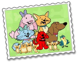 Clifford's puppy days characters with flo and zo and norville and jorge and daffodil and of course the mouse family