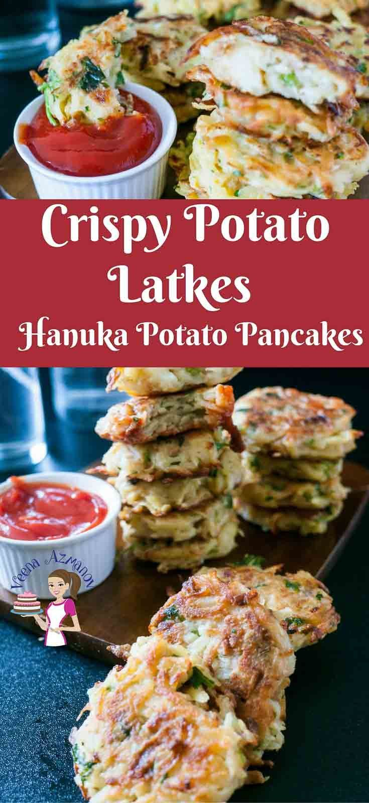 Nothing says Hanuka better than potato latkes for dinner and jam doughnuts for dessert. This simple, easy and effortless recipe makes the best potato pancakes; crispy on the outside soft tender flavored potato on the inside. Seasoned with onions, garlic and fresh herbs these are truly festive. #healthy #lowcalorie #lowfat #potato #latkes #potatopatties #potatocakes #cakes #patties #vegetarian #hanukah #jewish #food #veenaazmanov @veenaazmanov