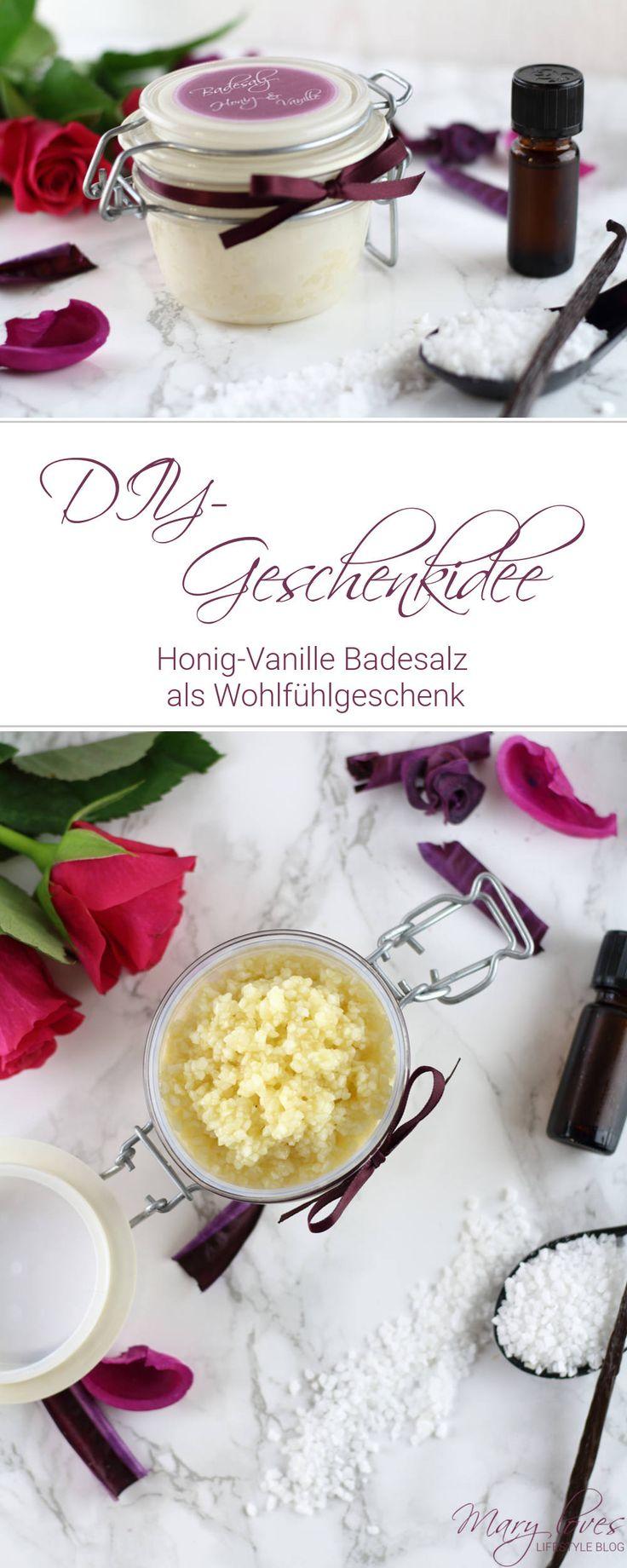 DIY-Geschenkidee - Honig-Vanille Badesalz als Wohlfühlgeschenk für den Winter - Badesalz selber machen - #badesalz #diybadesalz #diygeschenkidee #geschenkidee