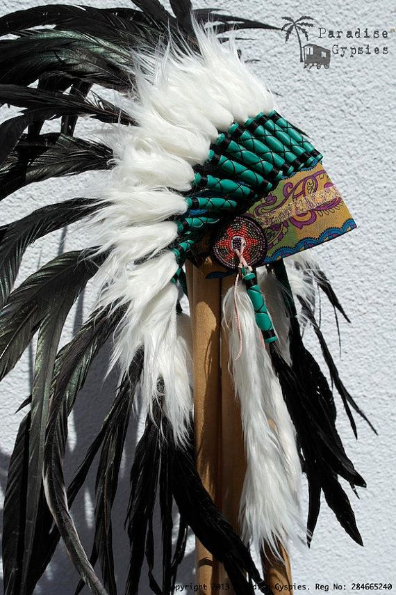 Alle zwarte veren hoofdtooi Gypsy Silk Warbonnet Native