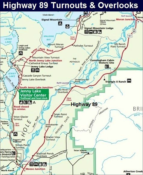 Highway 89 Map, Grand Teton National Park Map