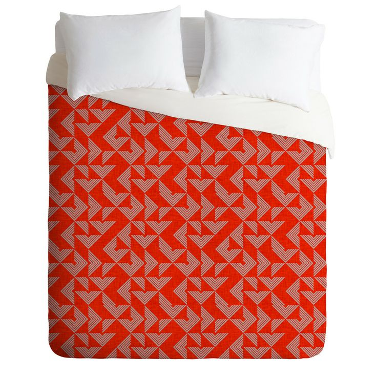 Holli Zollinger Mod Circuit Red Duvet Cover   DENY Designs Home Accessories