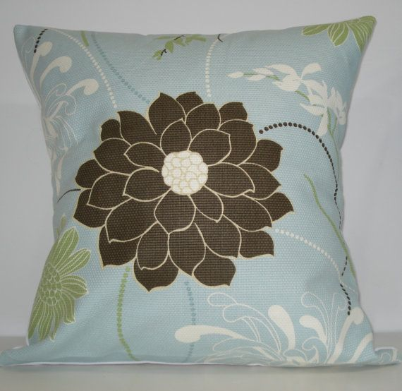 New 18x18 inch Designer Handmade Pillow Case in blue, green, brown and white floral