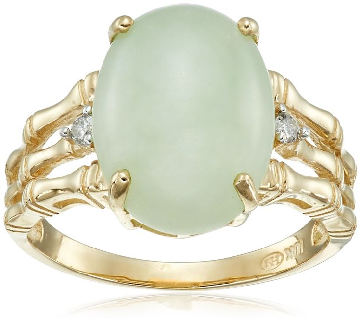 10k Yellow Gold Oval Green Jade and Diamond Accent Ring, Size 7: