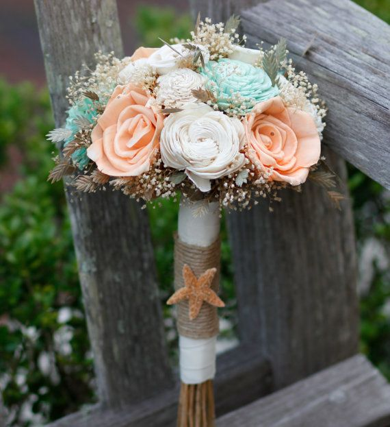 Peach Mint and Ivory Sola Bridesmaids Bouquet. Beach inspired Bouquet,Destination wedding, Starfish, Jute