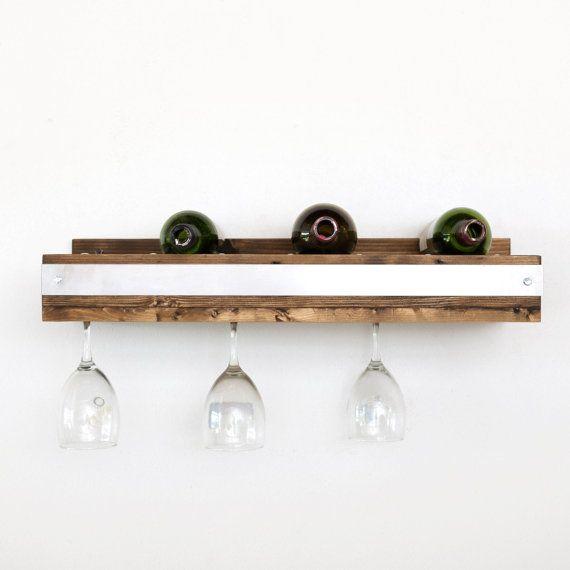 Industrial wine glass shelf by DelHutsonDesigns on Etsy
