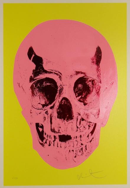 Damien Hirst: Till Death Do Us Part - Heaven - Lemon Yellow Pigment Pink Chilli Red Pop Skull, 2012  #art #yba