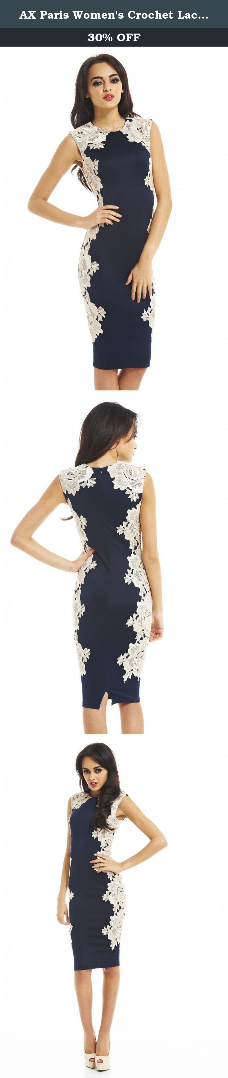 AX Paris Women's Crochet Lace Side Navy Midi Dress,Blue,6 US (10 UK). Glam up with this side lace contrast and scuba fabric dress slip on this classic evening dress and make heads turn. This trend stopping midi dress is totally sexy with just the right amount of sophistication thrown in too with and back zip fastening. We love the lace detail runnign down one side. Chic sophisticated and classic that's the way forward this season!.