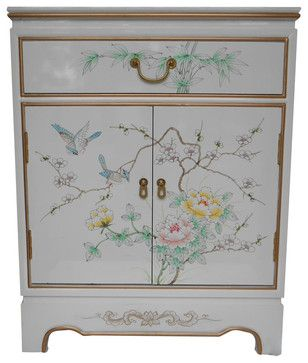 Oriental Cabinet Antique Gold Leaf Hand Painted Floral, White asian-storage-cabinets