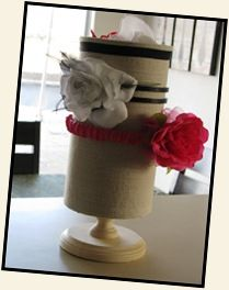 headband holder: wrap an oatmeal container in paper or fabric and attach to a painted candlestick. bonus!: you can use the inside of the container for smaller items like barrettes, ribbons and rubber bands, or even a brush and comb set :)