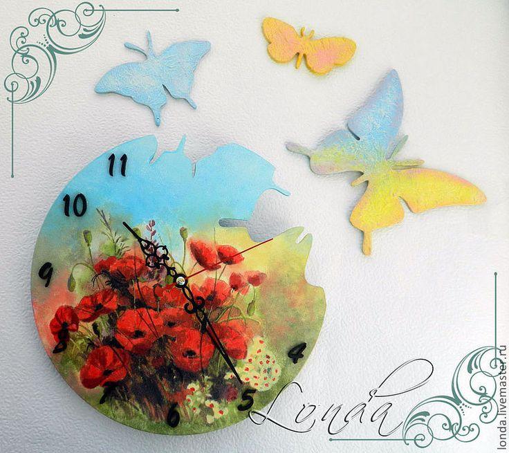 """Купить Часы """"Дуновение ветра"""" - деревянные заготовки, бабочка, бабочки, часы, часы настенные"""