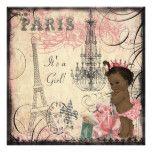 Ethnic Princess Paris Eiffel Tower Baby Shower Card