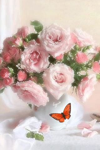 Beautiful bouquet with butterfly gif