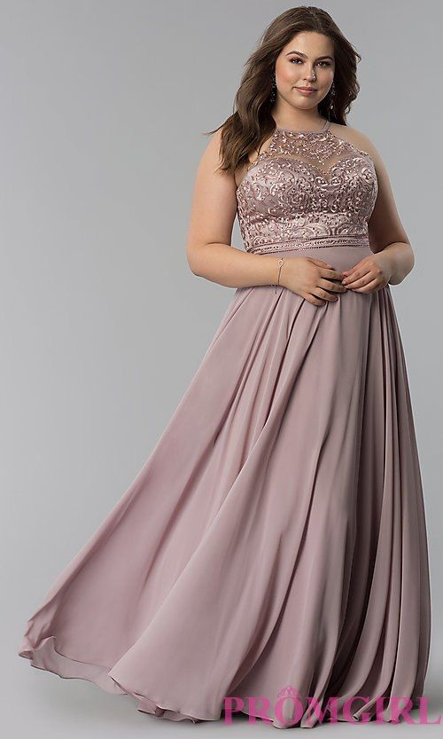 b74e52c33ab Embroidered-Bodice Long Plus-Size Prom Dress in 2019