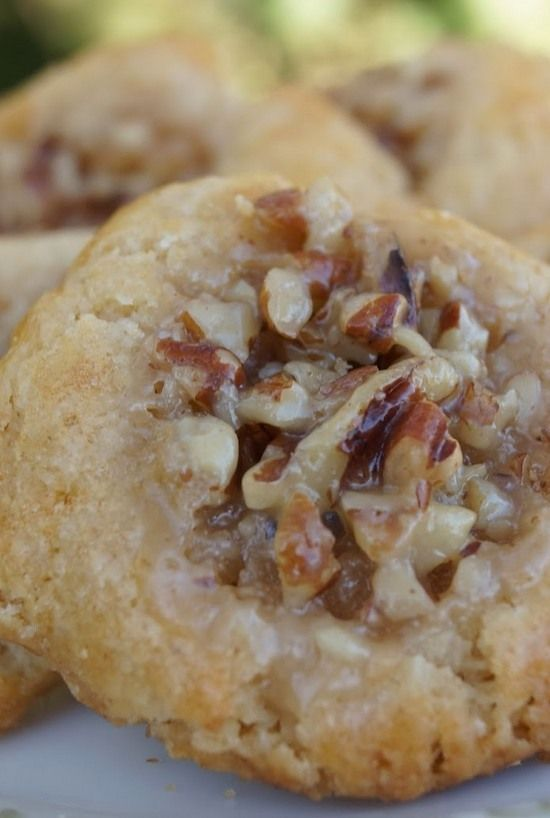 Pecan Pie Thumbprint Cookies | Almost like a caramel pecan candy. Enjoy!