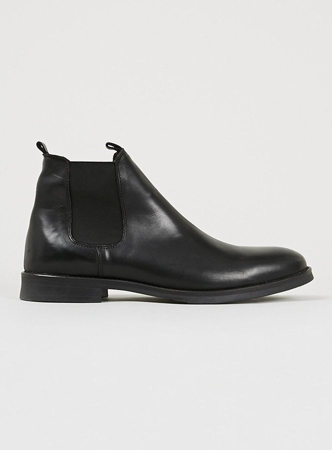 $220, Black Leather Chelsea Boots: Topman Selected Homme Black Leather Chelsea Boots. Sold by Topman. Click for more info: https://lookastic.com/men/shop_items/69337/redirect