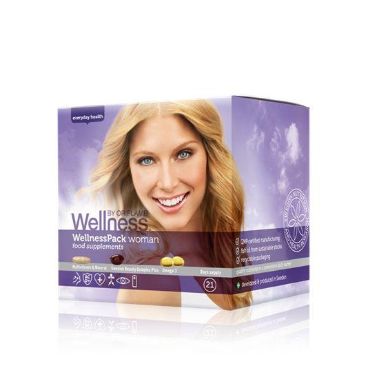 Данный продукт можно приобрести только в Сервисном Центре Орифлэйм. Вэлнэс Пэк для женщин — отличный выбор, чтобы получить необходимые витамины и микроэлементы, если ты на диете. Кожа: повышается уровень увлажненности и эластичности, сокращаются морщины, уменьшаются повреждения от UV-лучей. Энергия: ты меньше устаешь и меньше утомляешься.