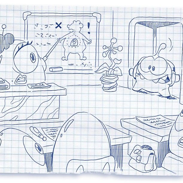 Oh no, it looks like Om Nom can't find his first class and has interrupted the Pudding Monsters' lesson. Like this post to tell him that his first class is Candy History!