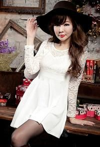 White Floral Lace Bodice and Long Sleeves Skater Dress