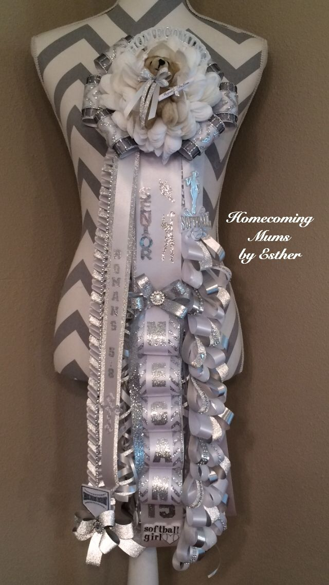 All white and silver senior mum for Medina Valley high school ... Texas tradition