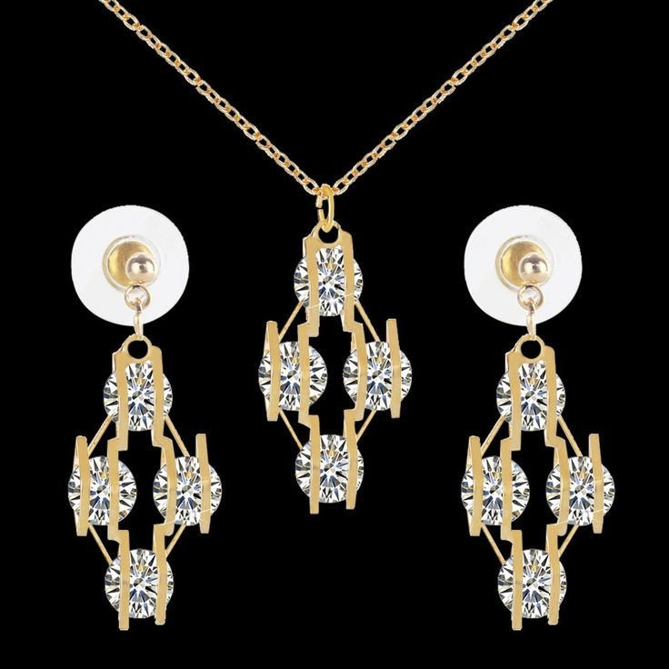 Women Gold Jewelry Set Prism Crystal Rhinestone Necklace+Earrings Gifts #Unbranded