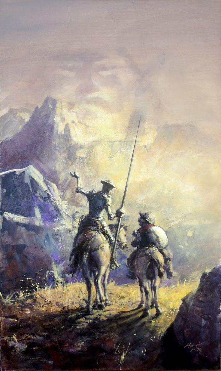 Don Quixote e Sancho Pança na Sierra Morena  Tela em acrílico, nas medidas 120cm x 70cm  Fevereiro de 2014