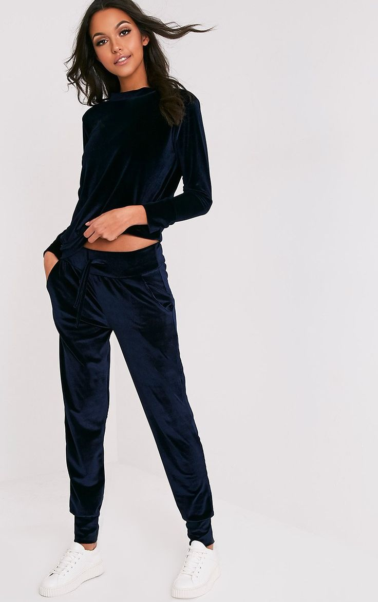 Navy Velvet Tracksuit BottomsGet serious off duty vibes with these tracksuit bottoms, featuring o...