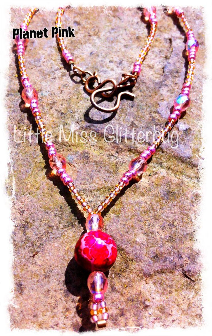 "LittleMissGlitterbug ""Planet Pink"" Necklace"