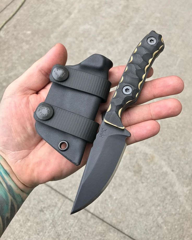 """816 Likes, 19 Comments - Jim Vandeveld (@hmc.knives) on Instagram: """"Transient fixed blade in CTS-XHP, with black G10 and brass textured handle. This guy will be for…"""""""