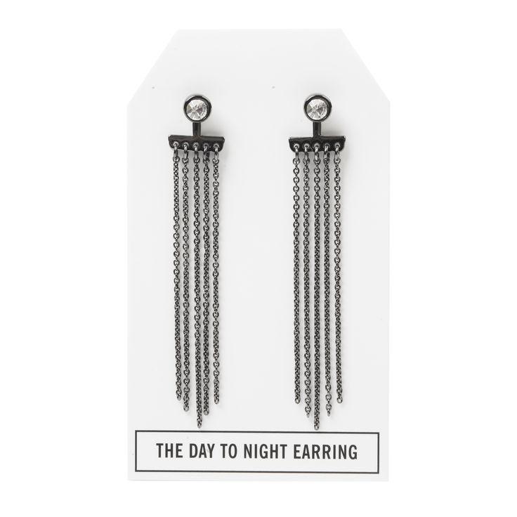 Crystal Day to Night Earring in Gunmetal - available in gold, silver, and gunmetal. $28. #gunmetalearrings #gunmetaljewelry #convertiblejewelry #fancyearrings #daytonight #daytonightearrings #jewelrygift