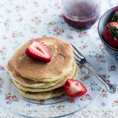 Homemade pancake mix  includes simple recipe for strawberry maple syrup  yum!