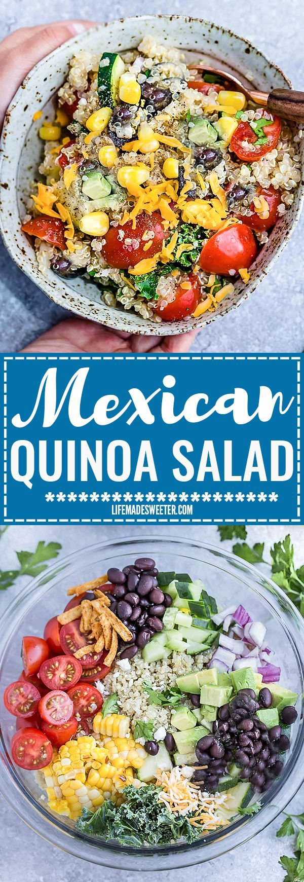 Mexican Quinoa Salad with delicious grilled corn and zucchini make the perfect summery meal. Best of all, it's so easy to customize and is loaded with cucumbers, black beans, cherry tomatoes,, red onions and optional shredded cheese and then tossed in a s