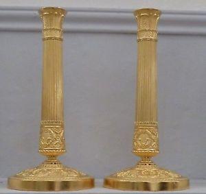 Paire De Bougeoirs d'époque Empire, Bronze Doré | eBay