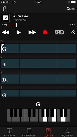 Chord Tracker Yamaha Corporation 코드 분석  기기에 있는 노래를 분석해서 어떤 코드 인지 알려줌~