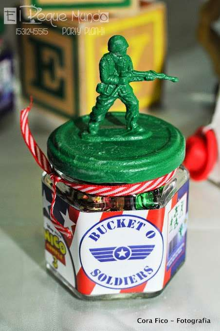 Army man party favors at a Toy Story birthday party!  See more party planning ideas at CatchMyParty.com!