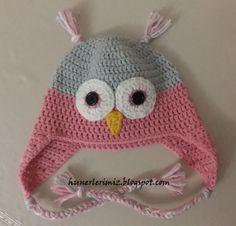 Baykuş Bere Yapılışı (Tığ işi) - Crochet Owl Hat Pattern       Baykuş bere yapılışının orjinalini  buradan  bulabilirsiniz. Ben kendi ipi...