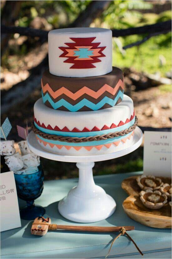 Native American / Aztec wedding cake for a Arizona wedding