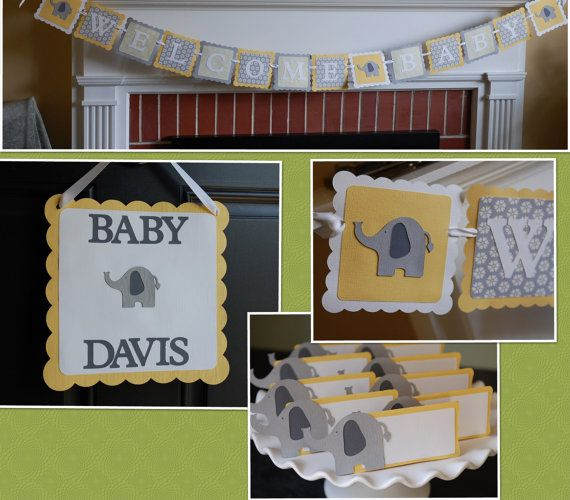 Elephant Baby Shower Package, Welcome Baby Banner, Elephant Door Sign, Elephant Food Labels, Greys, Pastel Yellow